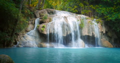 Waterfall in tropical jungle forest Stock Footage