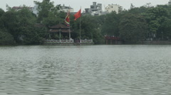 Temple of the Jade Mountain aka Den Ngoc Son on Sword Lake aka Hoan Kiem Lake Stock Footage