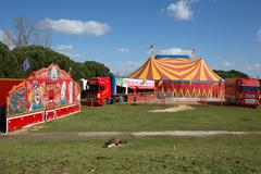 A nice red and yelow circus tent - stock photo