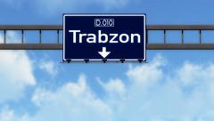 4K Passing Trabzon Turkey Highway Road Sign with Matte 2 stylized Stock Footage