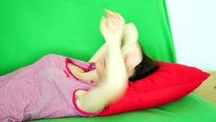 Woman Tries To Fall Asleep During The Day Stock Footage