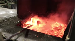 Liquid metal in the factory, foundry, smelting iron and processing Stock Footage