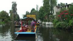 People on Trajineras Boats. Xochimilco, Mexico - stock footage