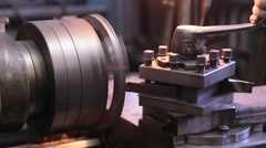 Changing the cutting tool on a lathe Stock Footage