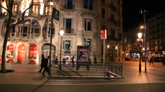 Evening Barcelona, Gaudi view of the house, the sounds of the street - stock footage