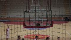 Players Fight For The Last Point In The Game and Miss The Basket Hoop, Indoors Stock Footage