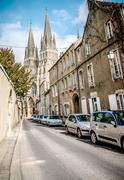 Narrow One Way Street In Bayeux Stock Photos