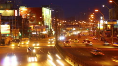 Kyiv's  cars traffic at night Stock Footage