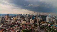 Sunset under the rain with city view of Kuala Lumpur. Timelapse. Stock Footage