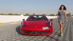 Red Ferrari 458 Spider sports car.beautiful woman is getting out of the Ferrari. Stock Footage