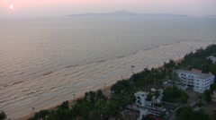 View of the coast of Pattaya during sunset from a high point Stock Footage