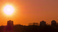 Red Sunset in city.4K (4096x2304)   Time lapse without birds, RAW outp Stock Footage