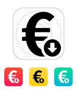 Euro exchange rate down icon - stock illustration