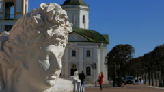 Sculpture at the entrance to the old manor Kuskovo in Moscow. Stock Footage