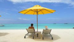 Young couple enyoing exotic vacation in Maldives Stock Footage