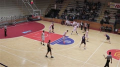 High Angle Shot Of Basketball Game, Two Points, Attack And Counterattack Stock Footage