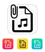 Attached Audio file icon - stock illustration