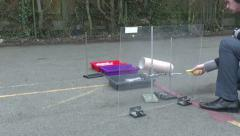 A school demo of a methane/oxygen rocket in the UK. Stock Footage