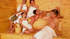 Group people  at sauna - stock footage