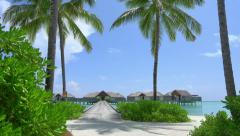 White sand, palm trees and ocean villas in Maldives - stock footage