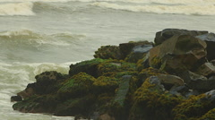 Green  Ocean Waves Crash Against Rocks with Moss, Spray Stock Footage