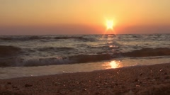 Beautiful sunset at the beach, amazing colors Stock Footage