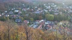 4k Wernigerode village castle autumn panning Harz mountains Stock Footage