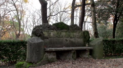 Old stone bench in the The Vatican Gardens Stock Footage
