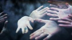 Horror Scene. Zombie Hands Touch The Car Window - stock footage