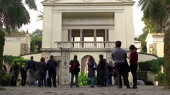 Tourists at the Villa Pia in Vatican Gardens. Stock Footage