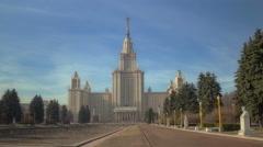 Walk to Lomonosov Moscow State University. Motion timelapse hyperlapse 4K Stock Footage