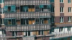 Flight Upward near Residential Multistory Quarters Stock Footage