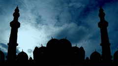 City Mosque time lapse with moving white cloud over the dome and minaret. Stock Footage