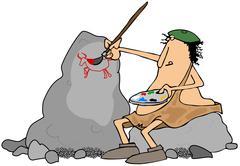 Caveman artist - stock illustration