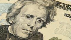 Andrew Jackson portrait on 20 US dollar bill close up rotation Stock Footage