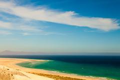 A sandy spit on the beach Canary Islands Stock Photos