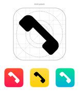 Telephone receiver icon. End the call - stock illustration