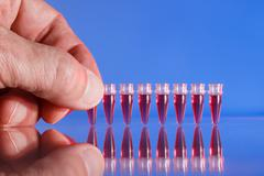 PCR strip test tubes and micropipette in genetics laboratory Stock Photos