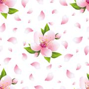 Background seamless pattern with sakura blossom and petals - stock illustration