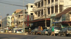 Old town Steet,Pakse,Laos Stock Footage