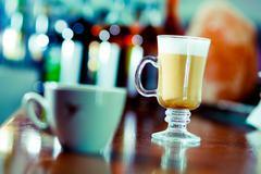 Irish coffee at the bar table Stock Photos
