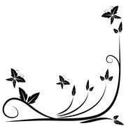 Floral black border Stock Illustration