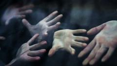 Horror Scene. Zombie Hands Touch The Car Window. Slow-Mo Stock Footage
