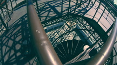 The pan iwithin metal watch tower Stock Footage