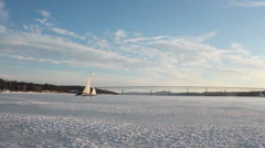 Iceboating Hudson River Stock Footage