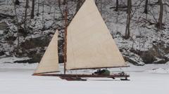 Iceboating on Tivoli Bay Stock Footage