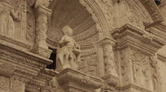 Ancient Church Exterior, Carved in Pumice,  with Inca Influence Stock Footage