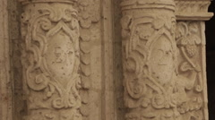 Ancient Church Exterior, Intricate Carving in Pumice Stone Stock Footage
