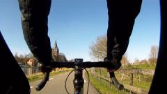 Point of view, road bike in rural area Stock Footage