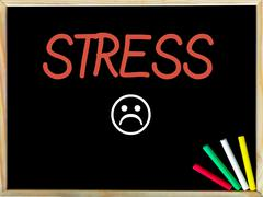 Stress message and sad emoticon face - stock photo